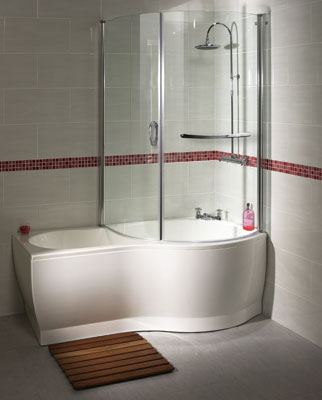 Aqualux P Acrylic Shower Bath and Bath Screen