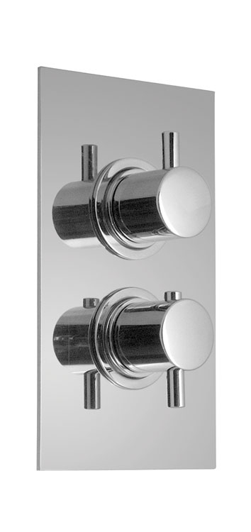 Vado Zoo Concealed 2 Way Thermostatic Shower Valve With Integrated Diverter  On A Rectangle Backplate