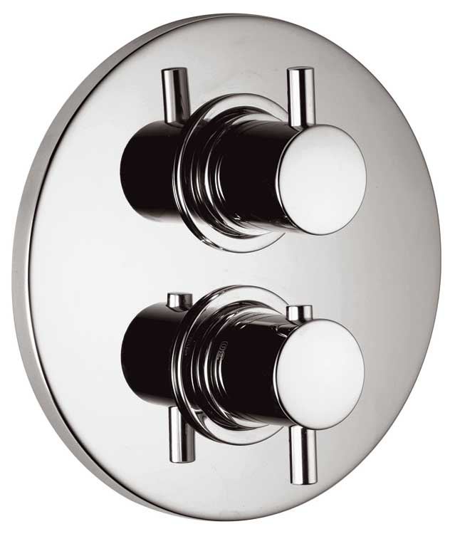 Vado Zoo Concealed 2 Way Thermostatic Shower Valve With Integrated Diverter  On A Round Backplate