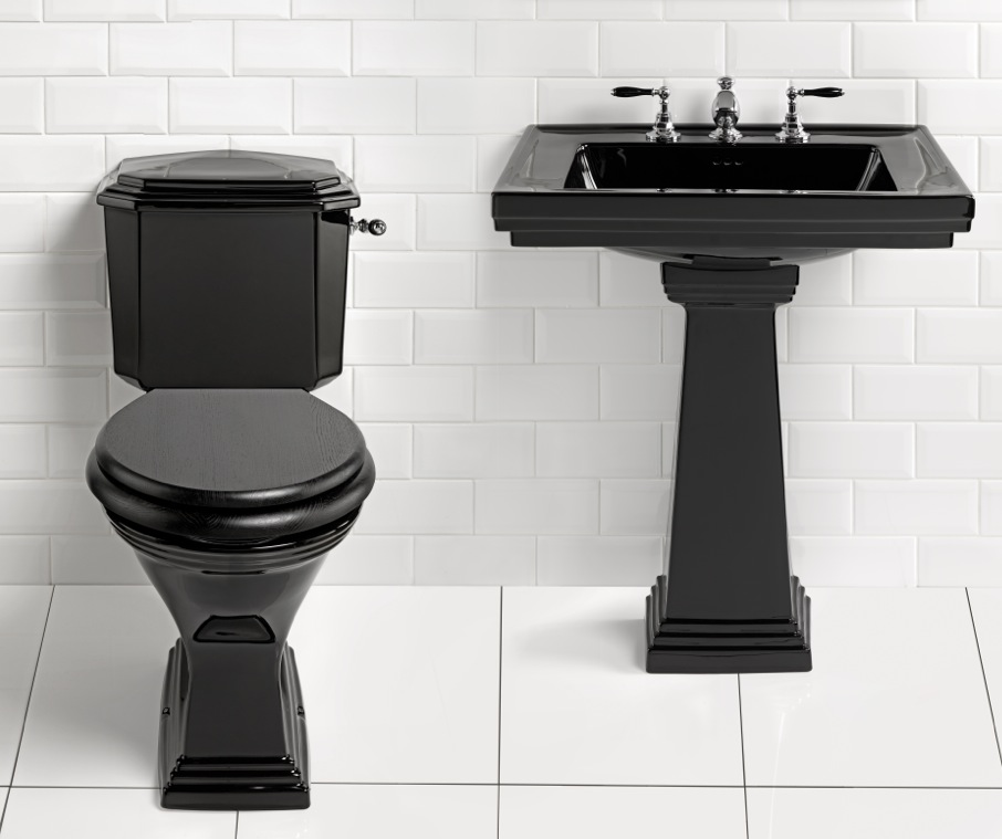 Imperial simply black astoria deco close coupled wc nationwide bathrooms - Deco toilet wc ...