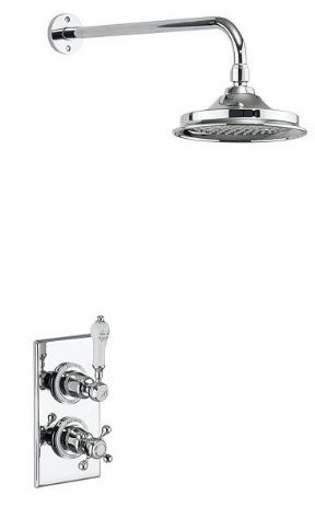 Burlington Trent Thermostatic Concealed Shower Valve With Fixed Head & Arm